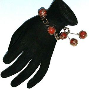 VINTAGE Russian Gold Filigree Capped Bead Bracelet